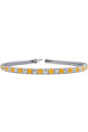 SuperJeweler 7 Inch 3 Carat Citrine & Diamond Tennis Bracelet in 14K (9.3 g)
