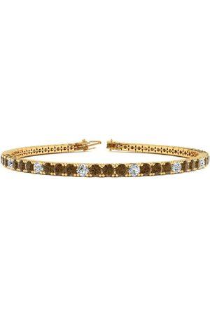 SuperJeweler Women Bracelets - 8 Inch 3 Carat Chocolate Bar Brown Champagne & White Diamond Tennis Bracelet in 14K (10.6 g)