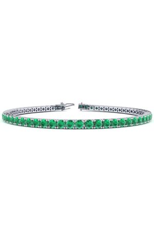 SuperJeweler 7 Inch 4 Carat Emerald Tennis Bracelet in 14K (9.3 g) by