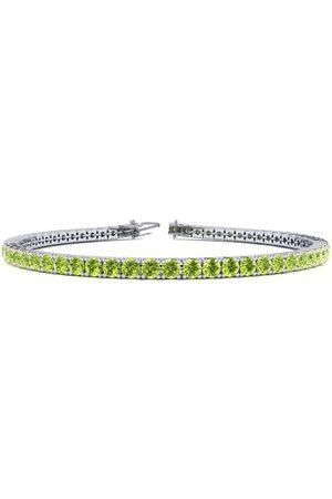 SuperJeweler 6.5 Inch 3 Carat Peridot Tennis Bracelet in 14K (8.6 g) by