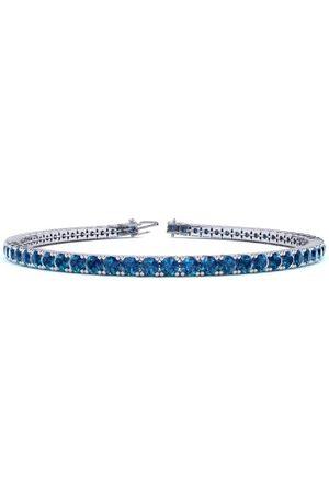 SuperJeweler 7.5 Inch 2 3/4 Carat Blue Diamond Tennis Bracelet in 14K (10 g) by