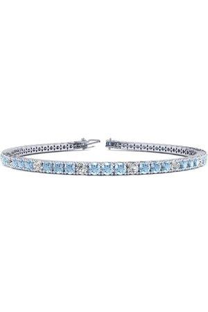SuperJeweler 6 Inch 2 1/4 Carat Aquamarine & Diamond Alternating Tennis Bracelet in 14K (8 g)
