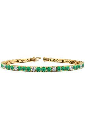 SuperJeweler 6.5 Inch 3 1/2 Carat Emerald Cut & Diamond Alternating Tennis Bracelet in 14K (8.6 g)