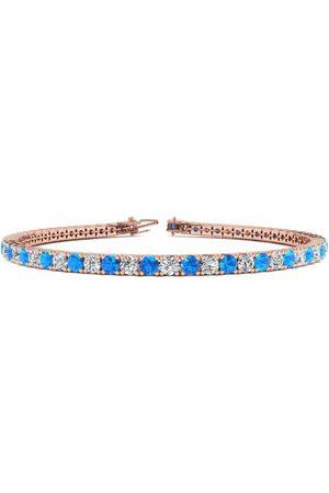 SuperJeweler 7.5 Inch 5 Carat Blue Topaz & Diamond Tennis Bracelet in 14K (10.1 g)