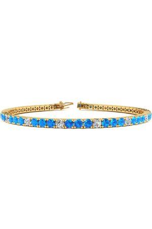 SuperJeweler 7.5 Inch 4 Carat Blue Topaz & Diamond Alternating Tennis Bracelet in 14K (10 g)