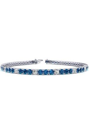 SuperJeweler 8.5 Inch 3 1/4 Carat Blue & White Diamond Tennis Bracelet in 14K (11.3 g)