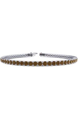 SuperJeweler 9 Inch 3 1/2 Carat Chocolate Bar Brown Champagne Diamond Tennis Bracelet in 14K (12 g) by