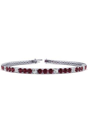 SuperJeweler 9 Inch 4 Carat Garnet & Diamond Alternating Tennis Bracelet in 14K (12 g)