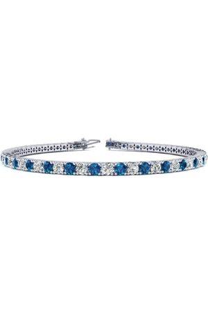 SuperJeweler Women Bracelets - 7 Inch 2 2/3 Carat Blue & White Diamond Tennis Bracelet in 14K (9.3 g)