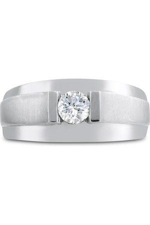 SuperJeweler Men's 1/3 Carat 1 Diamond Wedding Band in