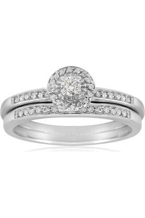 SuperJeweler 1/4 Carat Pave Diamond Bridal Ring Set