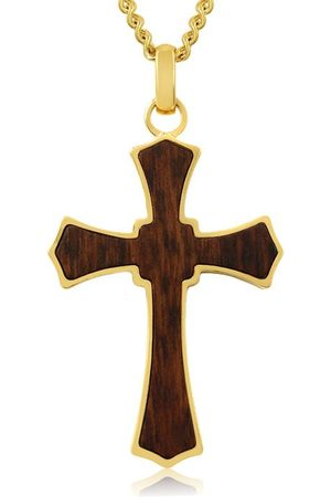 SuperJeweler Koa Wood & Gold (24 g) Plated Cathedral Cross Necklace w/ Free Custom Engraving
