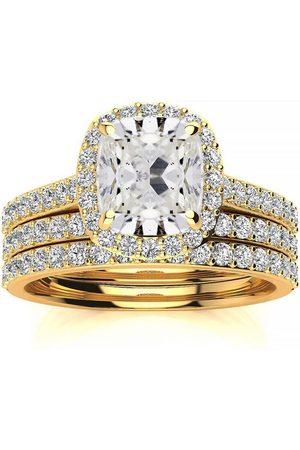 SuperJeweler 4 1/2 Carat Cushion Cut Halo Diamond Bridal Engagement Ring Set in 14K (16 g)