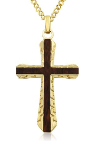 SuperJeweler Koa Wood & Gold (25 g) Plated Outlined Cross Necklace w/ Free Custom Engraving