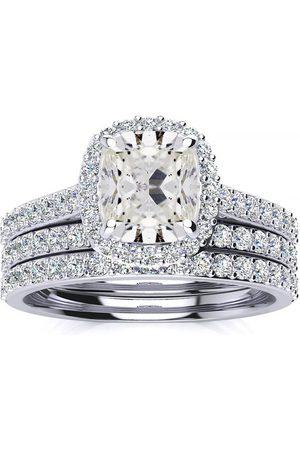 SuperJeweler Women Rings - 3 Carat Cushion Cut Halo Diamond Bridal Engagement Ring Set in 14K (16 g)