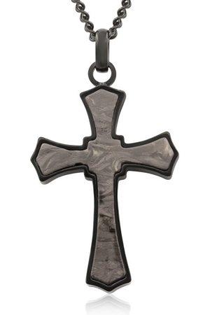 SuperJeweler Koa Wood & Black Cathedral Cross Necklace w/ Free Custom Engraving