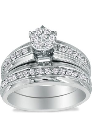SuperJeweler 1 Carat Round Shaped Head Bridal Engagement Ring Set in