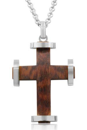 SuperJeweler Koa Wood & Classic Cross Necklace