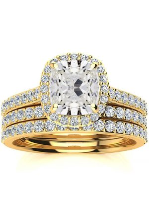 SuperJeweler 3 Carat Cushion Cut Halo Diamond Bridal Engagement Ring Set in 14K (16 g)
