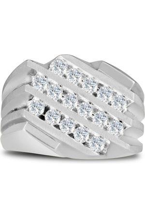 SuperJeweler Men's 1 Carat 16 Diamond Wedding Band in
