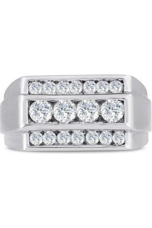 SuperJeweler Men's 1 Carat 18 Diamond Wedding Band in 14K