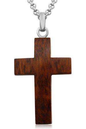 SuperJeweler Koa Wood & Cross Necklace w/ Free Custom Engraving
