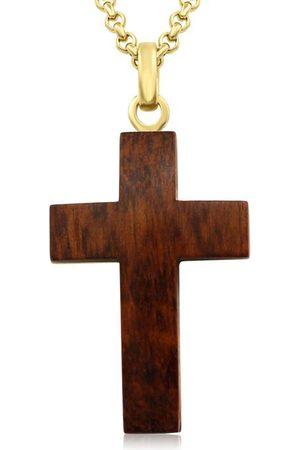 SuperJeweler Koa Wood & Gold (17 g) Plated Cross Necklace w/ Free Custom Engraving