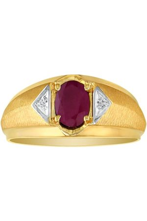 SuperJeweler Men's Ruby & White 2 Diamond Ring in (2.8 g)