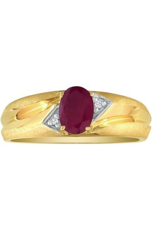 SuperJeweler Dual Texture (2.8 g) 1.07 Carat Oval Ruby & Diamond Men's Ring