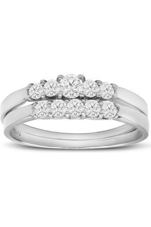 SuperJeweler 1/2 Carat Diamond Bridal Ring Set w/ .12 Carat Center Diamond in 14k