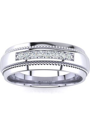 SuperJeweler 7mm Diamond Men's Satin Finished Milgrain Wedding Band in (8 g)