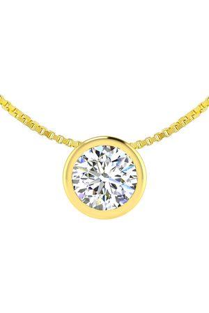 SuperJeweler 1/4 Carat Bezel Set Diamond Solitaire Necklace in 14K (2.30 g)