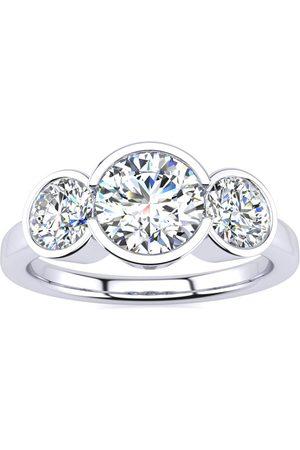 SuperJeweler 2 1/4 Carat Bezel Set Three Stone 3 Diamond Ring in 14K (4 g)
