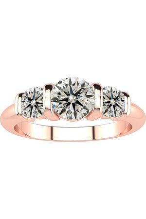 SuperJeweler 0.90 Carat Bar Set Three Stone 3 Diamond Ring in 14K (7 g)