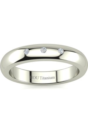 SuperJeweler 4MM Ladies & Men's .05 Carat Diamond Wedding Band in Titanium