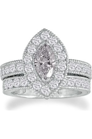 SuperJeweler Women Rings - 2 Carat Marquise Cut Halo Diamond Bridal Engagement Ring Set in 14k (9.3 g) (