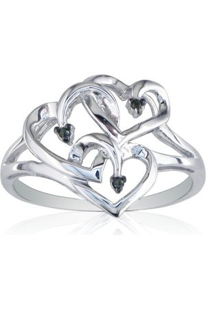 SuperJeweler Women Rings - Diamond & Sterling Silver Triple Heart Ring by