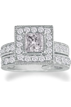 SuperJeweler Women Rings - 2 Carat Princess Cut Diamond Bridal Ring Set in 14k (9.6 g) (