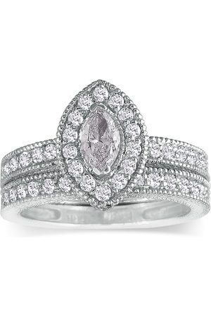 SuperJeweler 1.5 Carat Marquise Diamond Bridal Engagement Ring Set in 14k (7.6 g) (