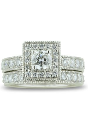 SuperJeweler 1.5 Carat Princess Cut Diamond Bridal Engagement Ring Set in 14k (8.3 g) (