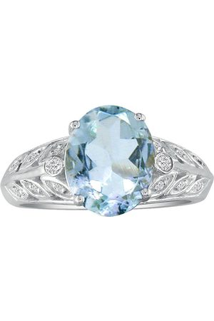 SuperJeweler 1 3/4 Carat Aquamarine & Diamond Ring in 14k