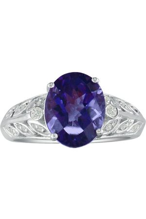 SuperJeweler 1.5 Carat Amethyst & Diamond Ring in 14k