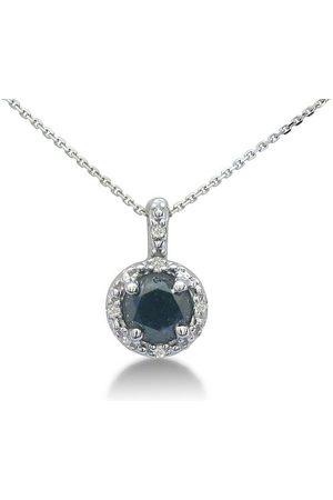 SuperJeweler 1/2 Carat & Black Diamond Pendant Necklace in Sterling Silver