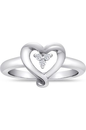Hansa Perfect .03 Carat Three Diamond Heart Promise Ring in Sterling