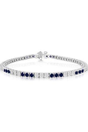 SuperJeweler Fine quality 4.86 Carat Sapphire & Diamond Bracelet in 14k