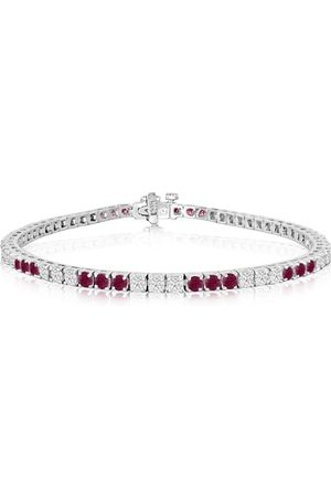 SuperJeweler Fine quality 4.86 Carat Ruby & Diamond Bracelet in 14k (12 g)