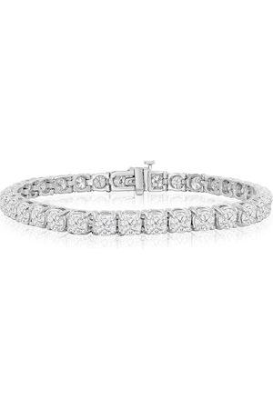 SuperJeweler 6 Inch 14K (13.3 g) 8 Carat TDW Round Diamond Tennis Bracelet (