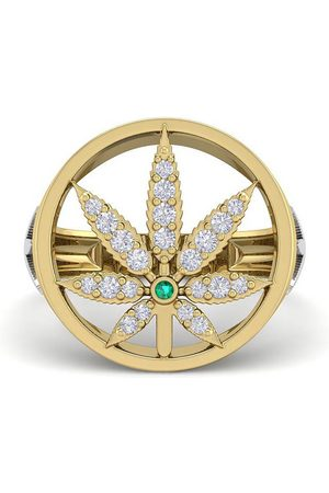 SuperJeweler Men's 1/3 Carat Diamond & Emerald Cut Weed Leaf Ring in 14K (9 g)