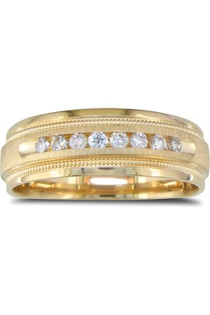 SuperJeweler Heavy Men's Wedding Band w/ 1/4 Carat Channel Set Diamond Yellow Golds