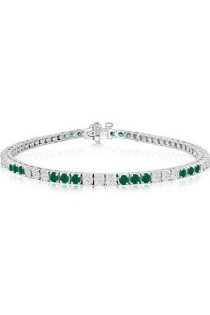 SuperJeweler Women Bracelets - Fine quality 4.86 Carat Emerald Cut & Diamond Bracelet in 14k